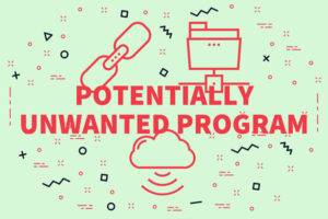 Conceptual business illustration with the words potentially unwanted program
