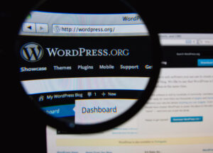 Photo of WordPress.org homepage on a monitor screen through a magnifying glass