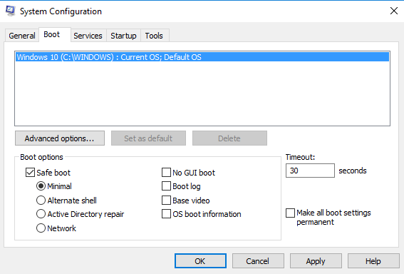 Configuration box boot option.