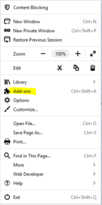 Addons and click on Extensions