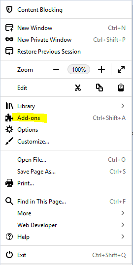 Menu and Add ons in Mozilla Firefox.