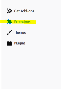 Extensions in Mozilla Firefox.