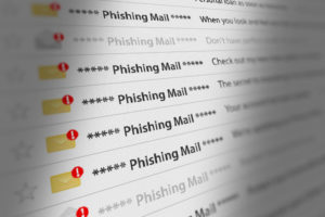 Close Up Shot of Phishing Mail Box UI on Webmail. 3D illustration.