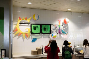 Google sign in its cafeteria (canteen) featuring summer theme