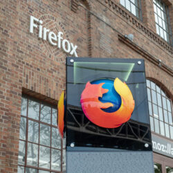 Mozilla sign and Firefox logo outside of San Francisco location entrance