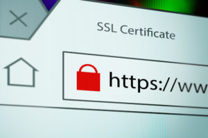 lose-up of a browser window showing lock icon during SSL connection