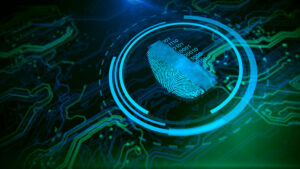 Access control. Fingerprint security. Cybersecurity and information technology. Blue, green background with digital integrated network technology. Printed circuit board. Technology background.