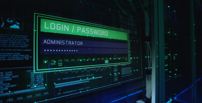 Close up shot of a computer login screen in a modern data center