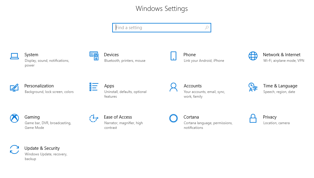 Windows Settings screenshot.