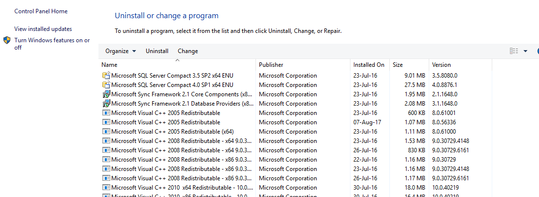 Uninstall or change program