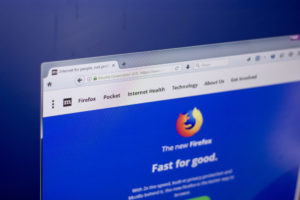 Homepage of popular and free internet browser Mozilla Firefox on a display of PC.