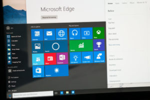 Photo of Windows 10 Insider preview running on a pc screen with new Edge browser