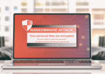 Ransomware virus alert on a computer laptop screen, blur office background. 3d illustration