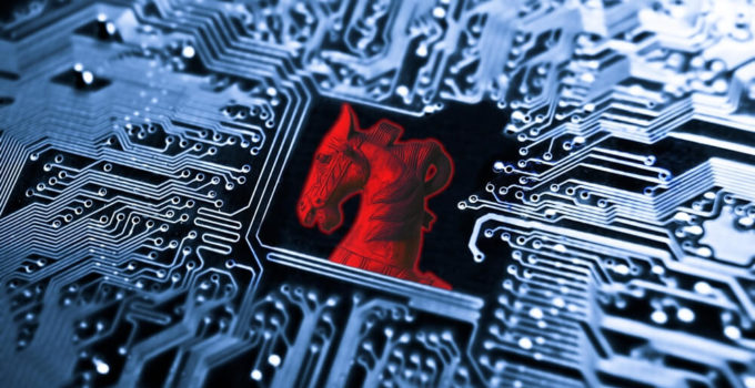 Trojan horse symbol of a red trojan horse on blue computer circuit board background (1)