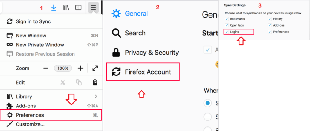 Firefox desktop login and sync